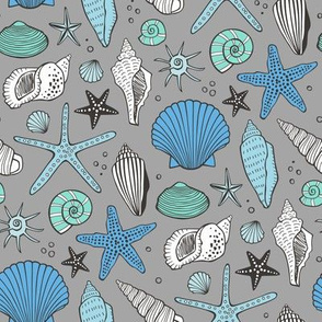 Seashells Nautical Ocean Shells Blue Mint Green on Grey