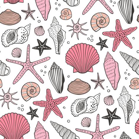 Seashells Nautical Ocean Shells Pink on White fabric by caja_design on Spoonflower - custom fabric
