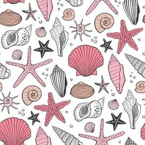 Seashells Nautical Ocean Shells Pink on White