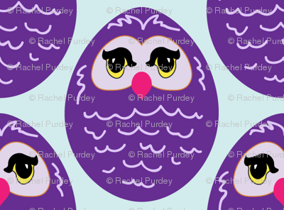 Purple Cartoon Owl
