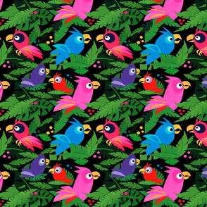 Jungle Birds – Red and Pink