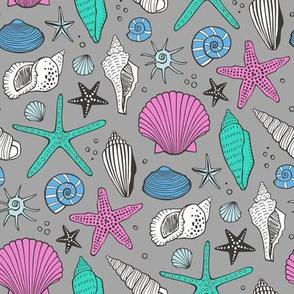 Seashells Nautical Ocean Shells Dark Pink Mint Green Blue on Grey