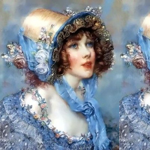 victorian straw bonnets hats beautiful girls young woman lady flowers floral roses lace bows blue bows gowns 18th century shabby chic