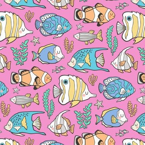 Tropical Fish on Pink Smaller