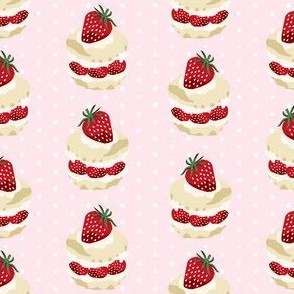 strawberry shortcake summer fruit dessert kitchen baking fabric light pink