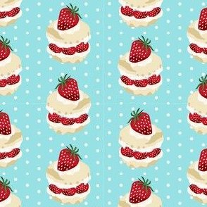 strawberry shortcake summer fruit dessert kitchen baking fabric light blue