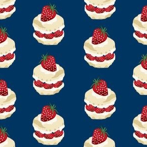 strawberry shortcake summer fruit dessert kitchen baking fabric navy