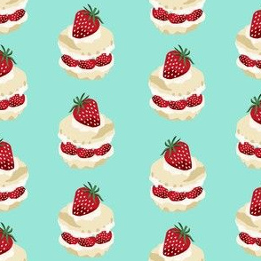 strawberry shortcake summer fruit dessert kitchen baking fabric mint