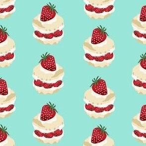 strawberry shortcake summer fruit dessert kitchen baking fabric mint