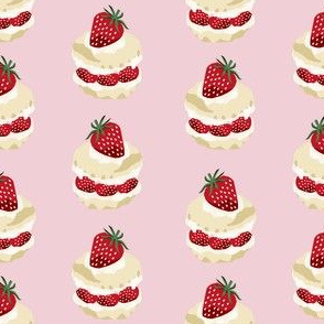 strawberry shortcake summer fruit dessert kitchen baking fabric pink