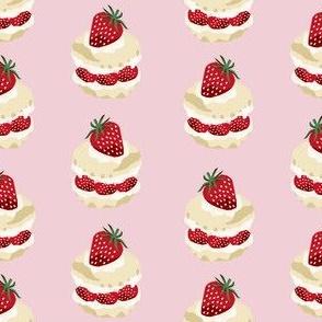strawberry shortcake summer fruit dessert kitchen baking fabric pink