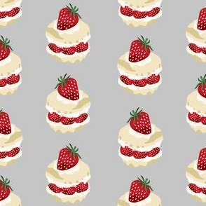 strawberry shortcake summer fruit dessert kitchen baking fabric grey