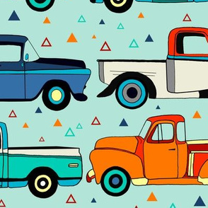 Summer Vintage Trucks With Triangles - Big