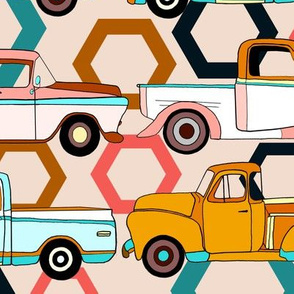 Summer Vintage Trucks With Hexagons - Big