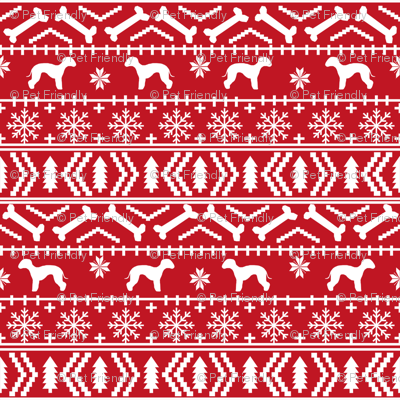 bedlington terrier fair isle christmas  silhouette dog fabric red