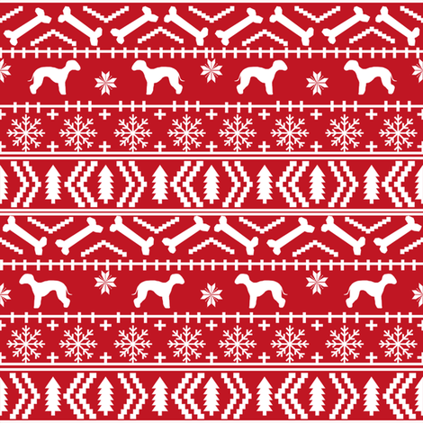 bedlington terrier fair isle christmas  silhouette dog fabric red fabric by petfriendly on Spoonflower - custom fabric