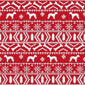 bedlington terrier fair isle christmas  silhouette dog fabric red