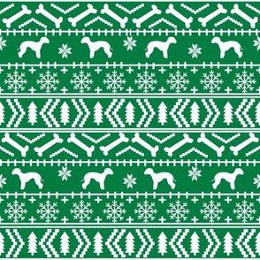 bedlington terrier fair isle christmas  silhouette dog fabric bright green