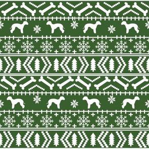 bedlington terrier fair isle christmas  silhouette dog fabric green