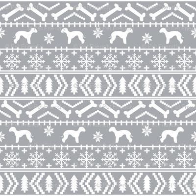 bedlington terrier fair isle christmas  silhouette dog fabric grey