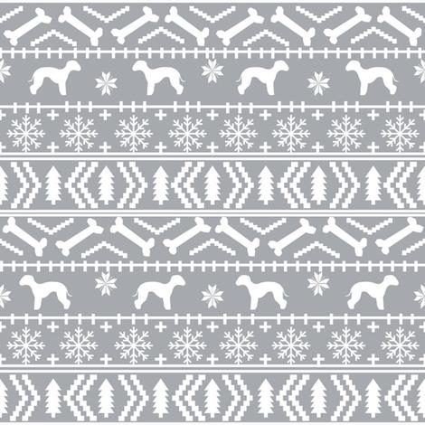 bedlington terrier fair isle christmas  silhouette dog fabric grey fabric by petfriendly on Spoonflower - custom fabric