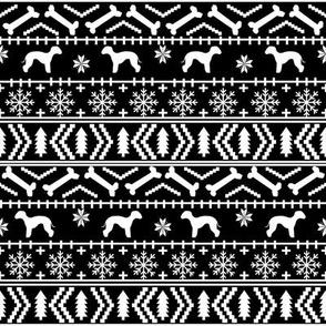 bedlington terrier fair isle christmas  silhouette dog fabric black