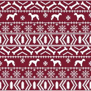 bedlington terrier fair isle christmas  silhouette dog fabric ruby