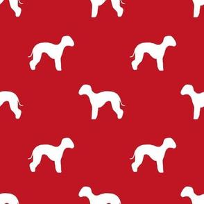 bedlington terrier  silhouette dog fabric red