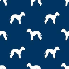 bedlington terrier  silhouette dog fabric navy