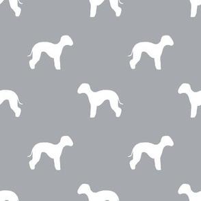 bedlington terrier  silhouette dog fabric grey
