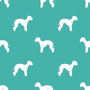 bedlington terrier  silhouette dog fabric blue