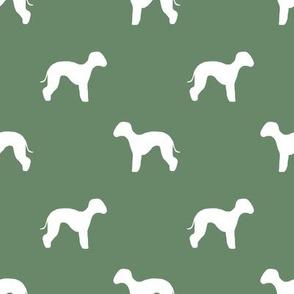 bedlington terrier  silhouette dog fabric green