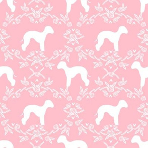 bedlington terrier floral silhouette dog fabric pink