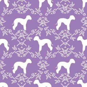 bedlington terrier floral silhouette dog fabric purple