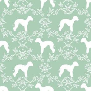 bedlington terrier floral silhouette dog fabric mint