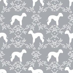 bedlington terrier floral silhouette dog fabric grey