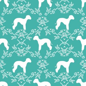 bedlington terrier floral silhouette dog fabric blue