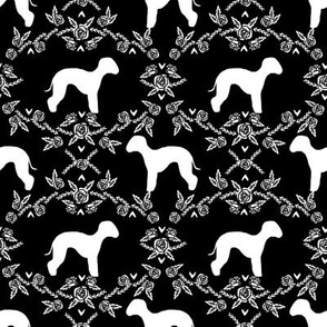bedlington terrier floral silhouette dog fabric black