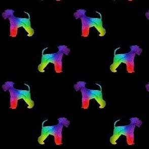 Schnauzer Shilhouette Rainbow on Black Large