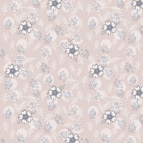 grey and pink floral