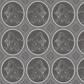 Grisaille Charcoal Grey Neo-Classical Ovals