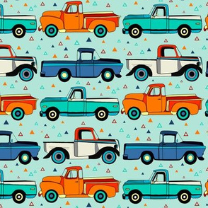 Summer Vintage Trucks With Triangles - Small