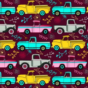 Floral Vintage Trucks- Small