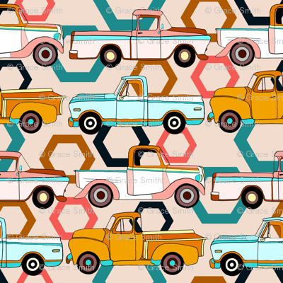 Summer Vintage Trucks With Hexagons - Small
