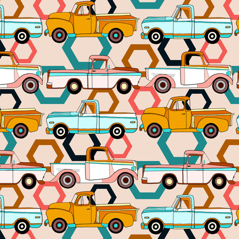 Summer Vintage Trucks With Hexagons - Small fabric by tigatiga on Spoonflower - custom fabric