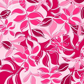 Leaves in Hot Pink and Magenta with Scattered White Outlines on  Light Pink Background