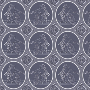 Grisaille Blue Grey Neo-Classical Ovals
