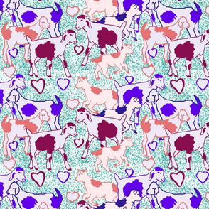 Seamless pattern goats and Hearts