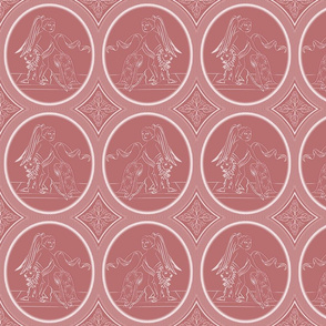 Grisaille Rose Red Neo-Classical Ovals