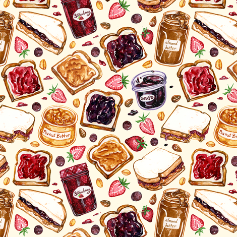 Peanut Butter and Jelly Watercolor fabric by spookishdelight on Spoonflower - custom fabric